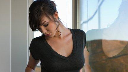 Holly Michaels, pornstar, brunette, closed eyes, women