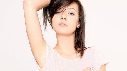 Anna Tatu, women, model, face, dark hair, green eyes