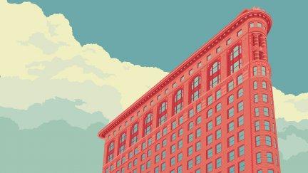 Digital Art Building Clouds Flatiron Building Usa